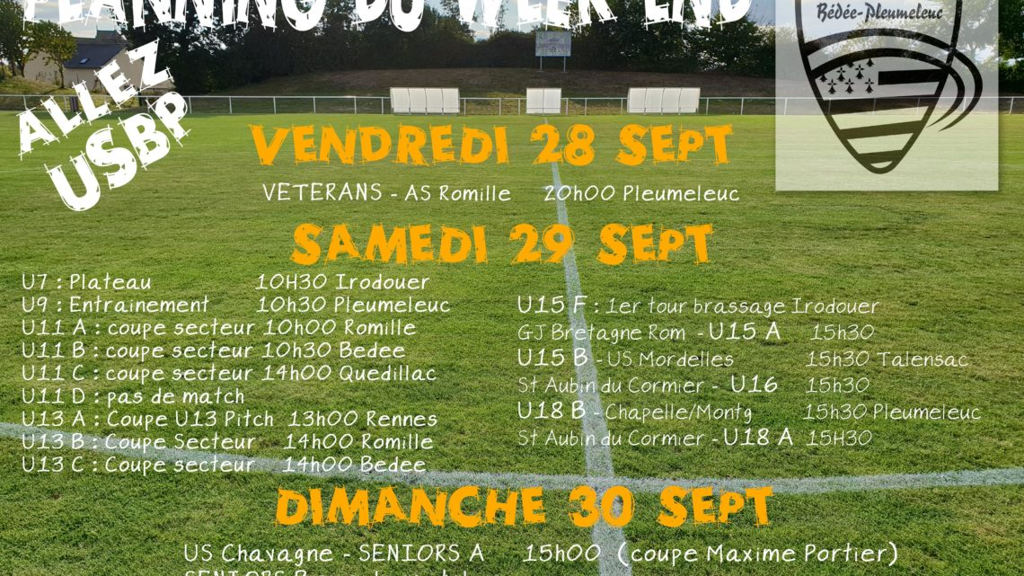 Planning du week-end 28-29-30 septembre