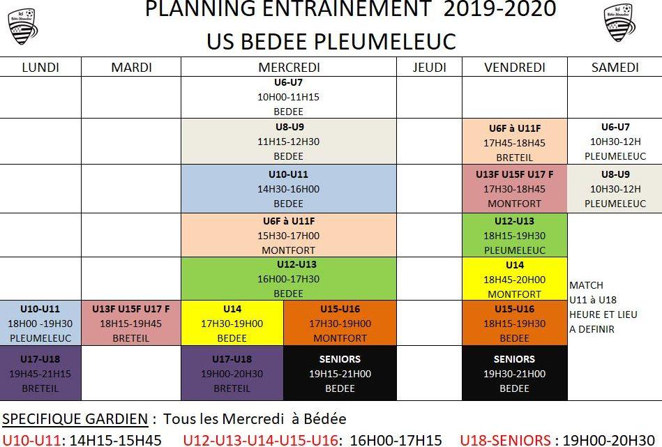Planning entrainement